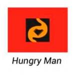 Logotipo da HUNGRY MAN. Cliente da Peixe Voador.